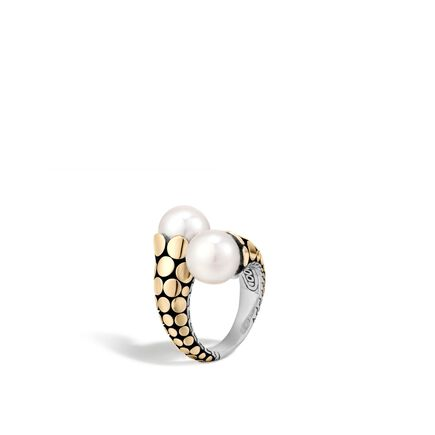 Dot Bypass Ring in Silver and 18K Gold with 11MM Pearl