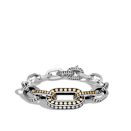 Dot Graduated Link Bracelet in Silver and Brushed 18K Gold