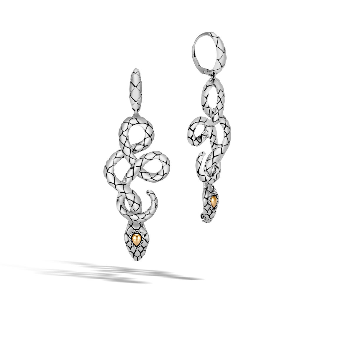 Legends Cobra Drop Earring in Silver and 18K Gold