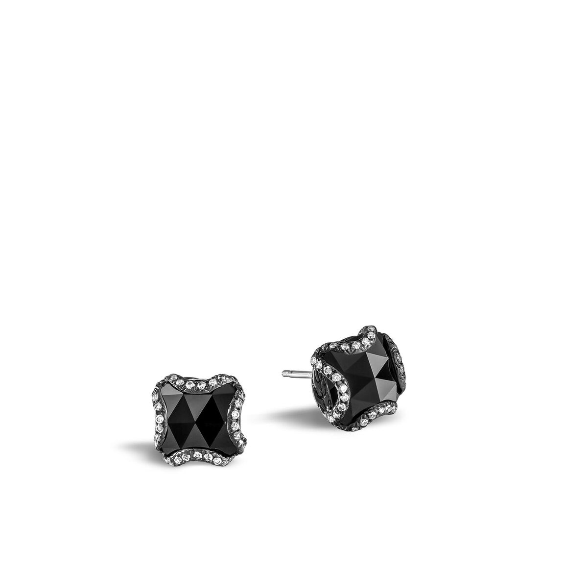 Classic Chain Stud Earring, Blackened Silver, Gem, Diamonds