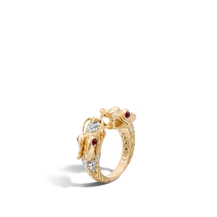 Legends Naga Double Head Ring in 18K Gold with Diamonds