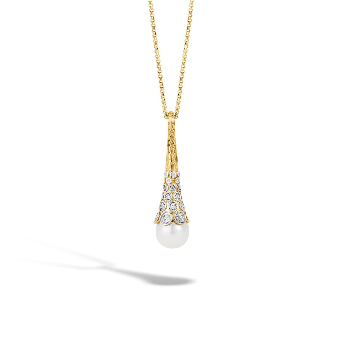 Dot Pendant Necklace in 18K Gold with 11MM Pearl,  Diamonds