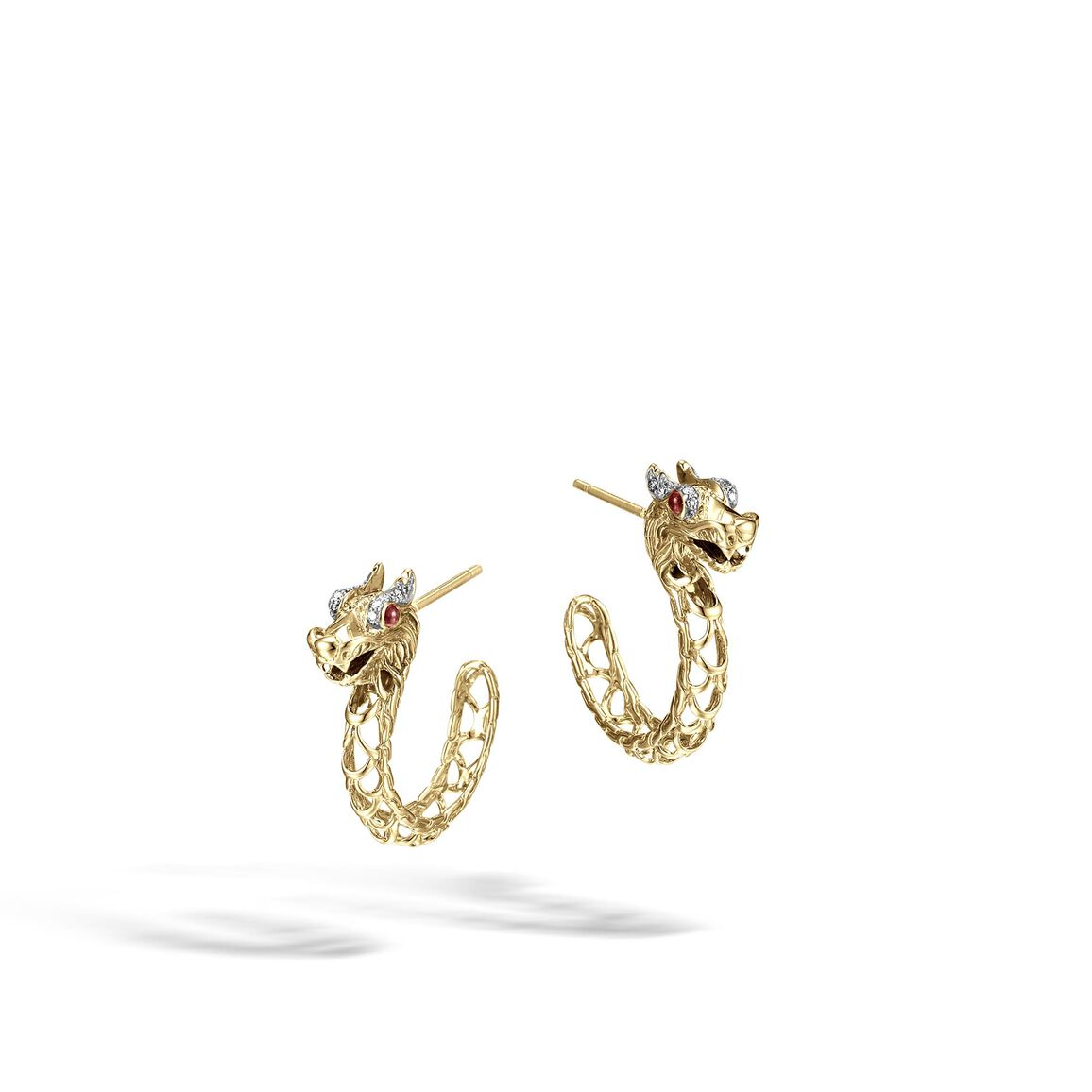 Legends Naga Small Hoop Earring in 18K Gold with Diamonds