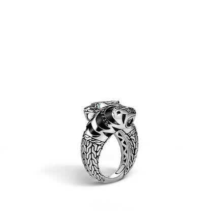 Legends Macan Double Head Bypass Ring, Silver with Gemstone