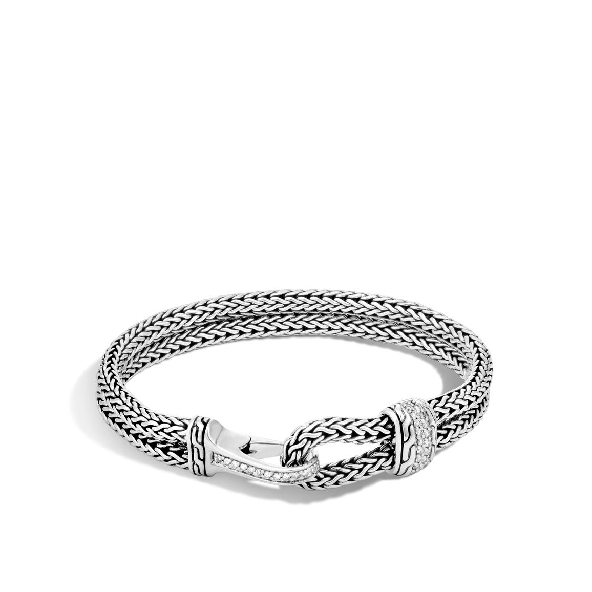 Classic Chain 9MM Bracelet in Silver with Diamonds