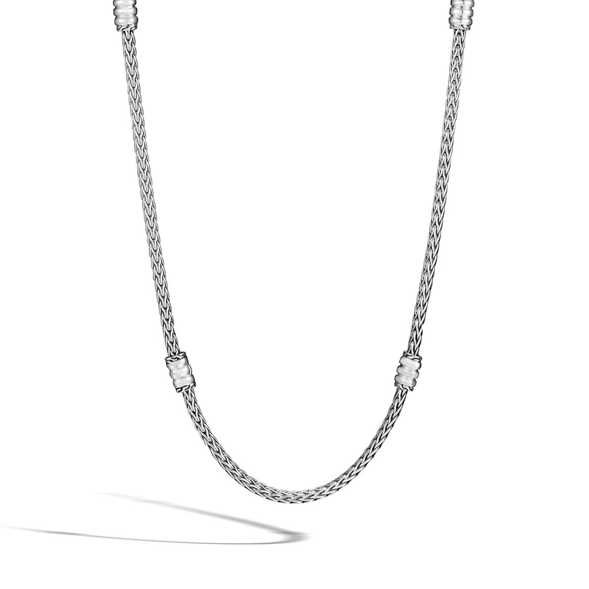 Classic Chain 4MM Station Necklace in Silver