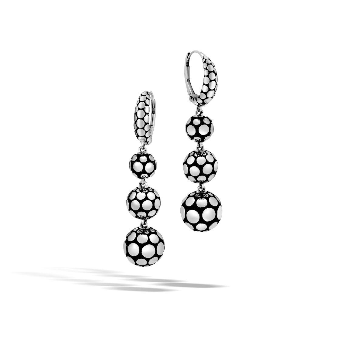 Dot Triple Drop Earring in Silver