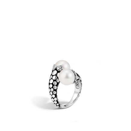 Dot Bypass Ring in Silver with 11MM Pearl and Diamonds