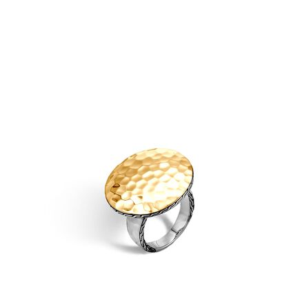 Dot Ring in Silver and Hammered 18K Gold