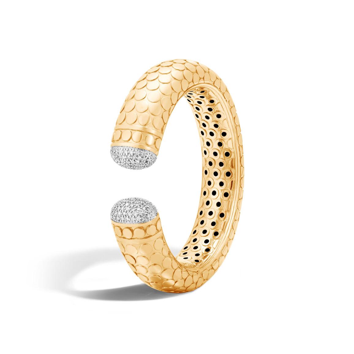 Dot 17.5MM Kick Cuff in 18K Gold with Diamonds