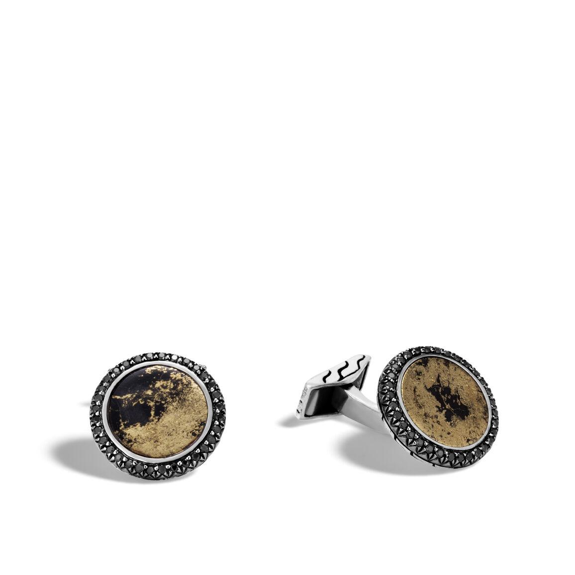 Classic Chain Cufflinks in Blackened Silver, 12MM Gemstone