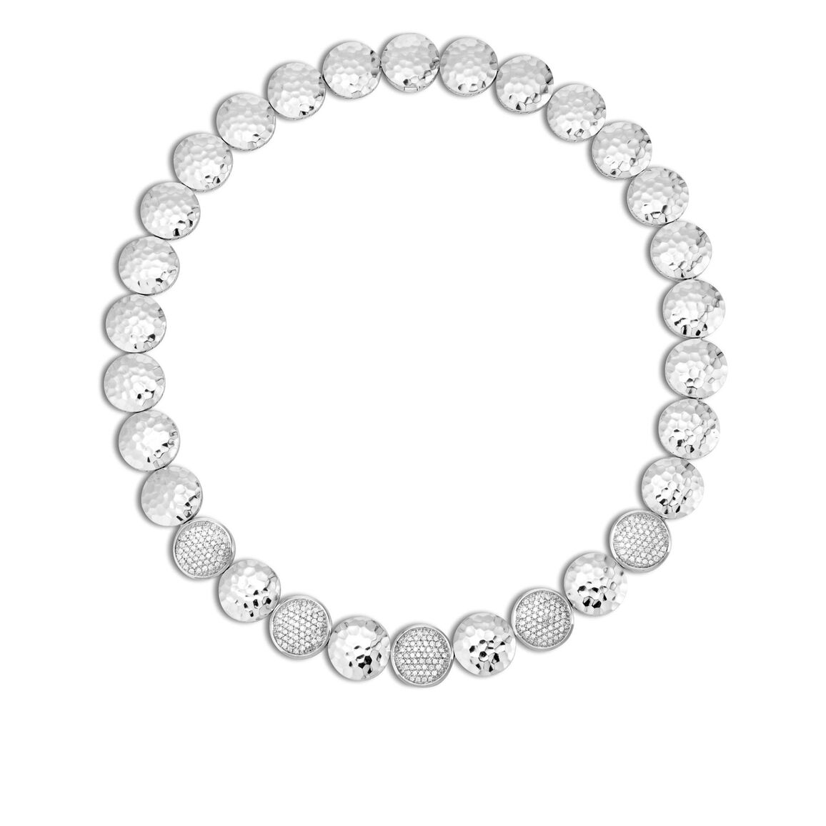 Dot 16MM Link Necklace in Hammered Silver with Diamonds