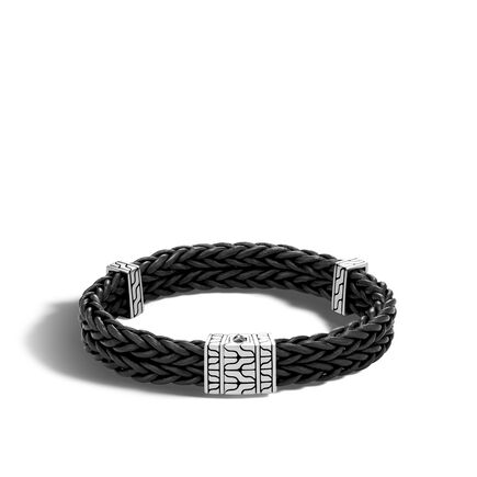 Chain Heritage Station Bracelet in Silver and Leather