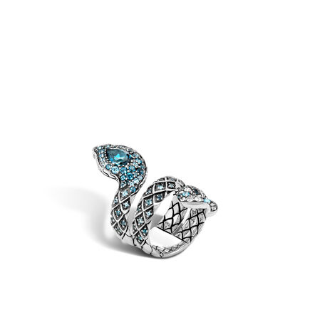 Legends Cobra  Coil Ring in Silver with Gemstone and Diamond