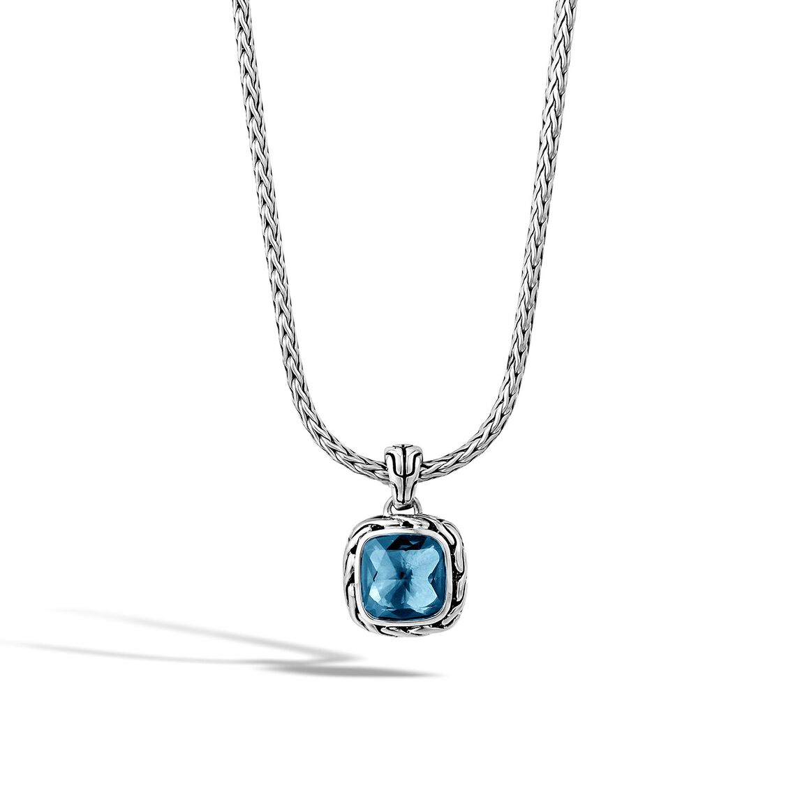 Classic Chain Pendant Necklace in Silver with 8MM Gemstone