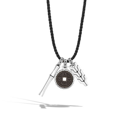 Bamboo Charm Necklace in Silver and Leather