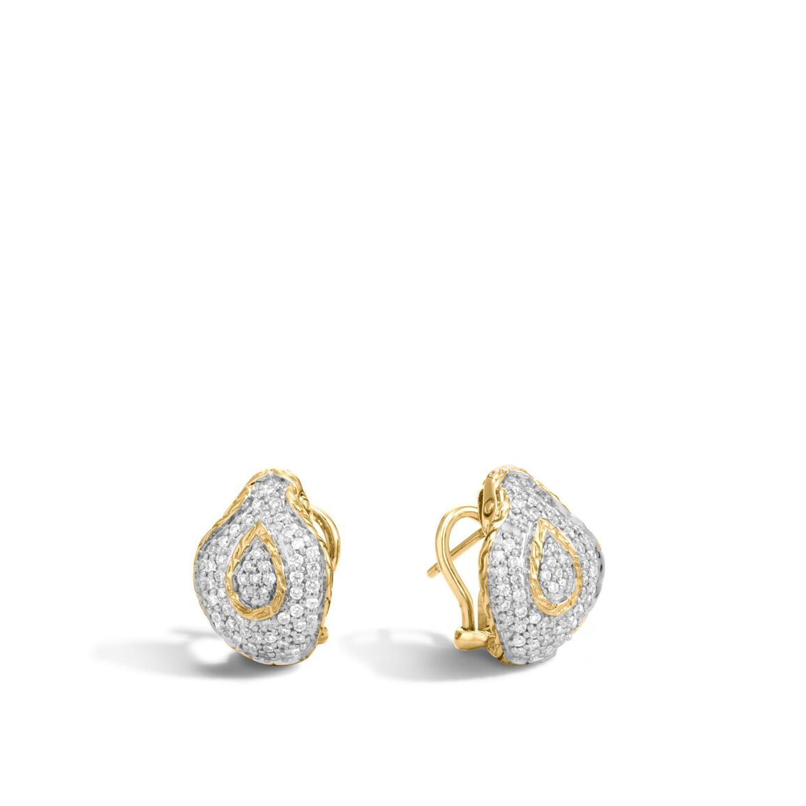 Legends Cobra Button Earring in 18K Gold with Diamonds