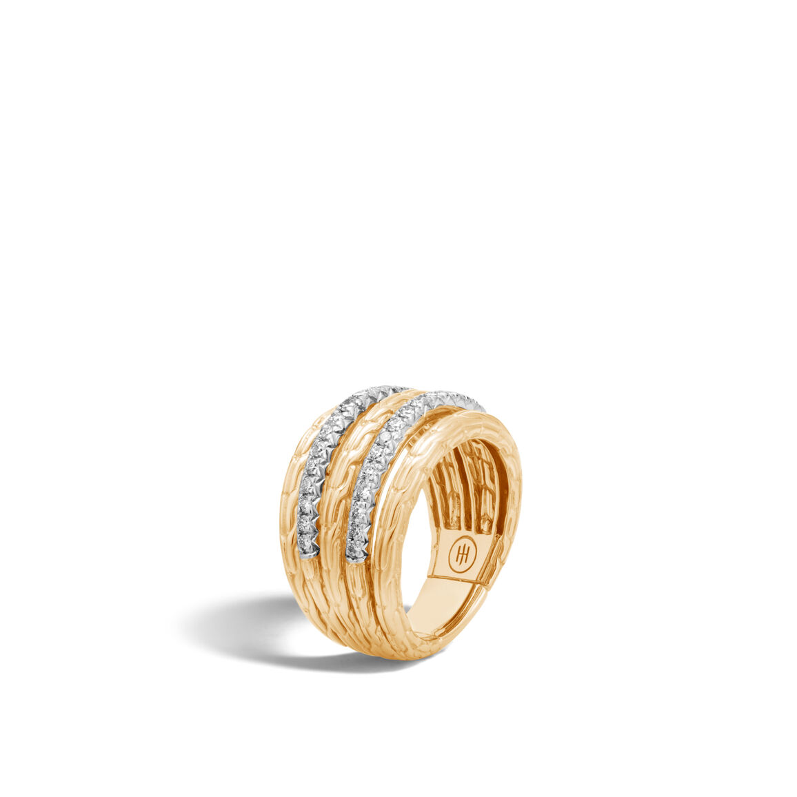 Classic Chain Five Rows in 18K Gold with Diamonds