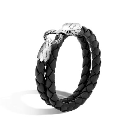 Legends Eagle Wrap Bracelet in Silver and Leather