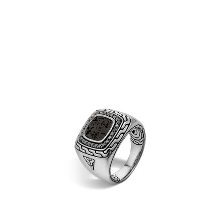 Classic Chain Signet Ring in Silver, Volcanic Lava, Gemstone