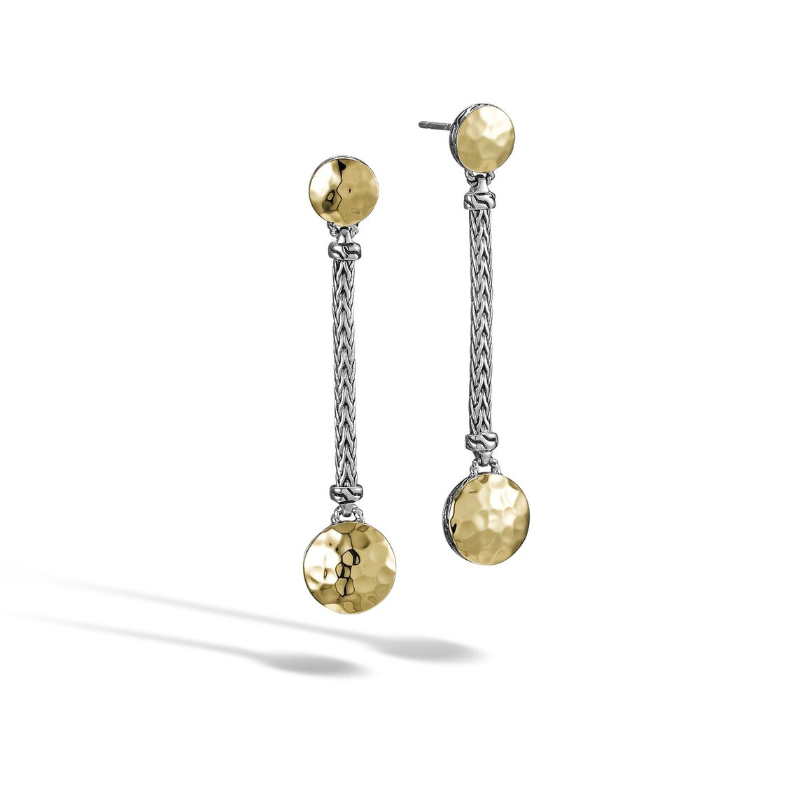 Dot Linear Drop Earring in Silver and Hammered 18K Gold