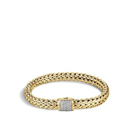 Classic Chain 7.5MM Bracelet in 18K Gold with Diamonds