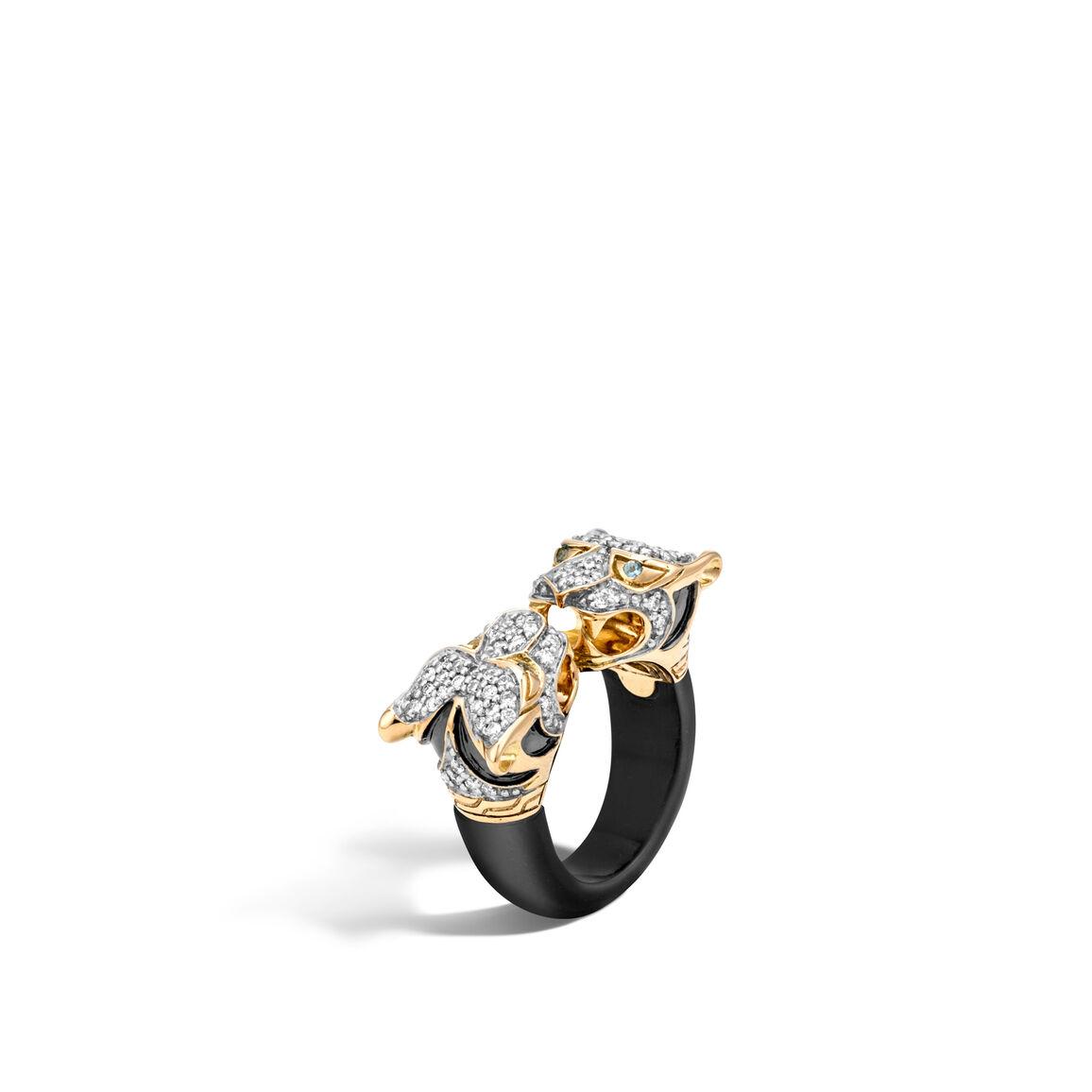 Legends Macan Double Head Ring,18K Gold, Gemstone, Diamonds