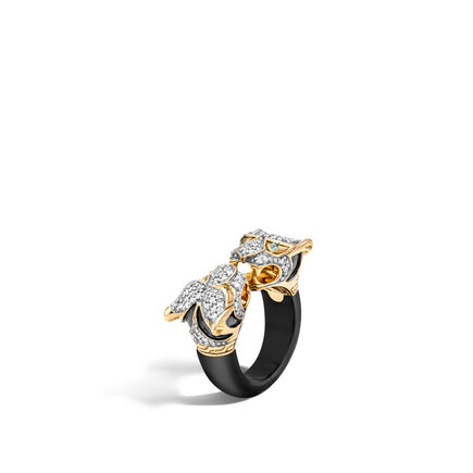 Legends Macan Double Head Ring,18K Gold, Gemstone, Diamonds