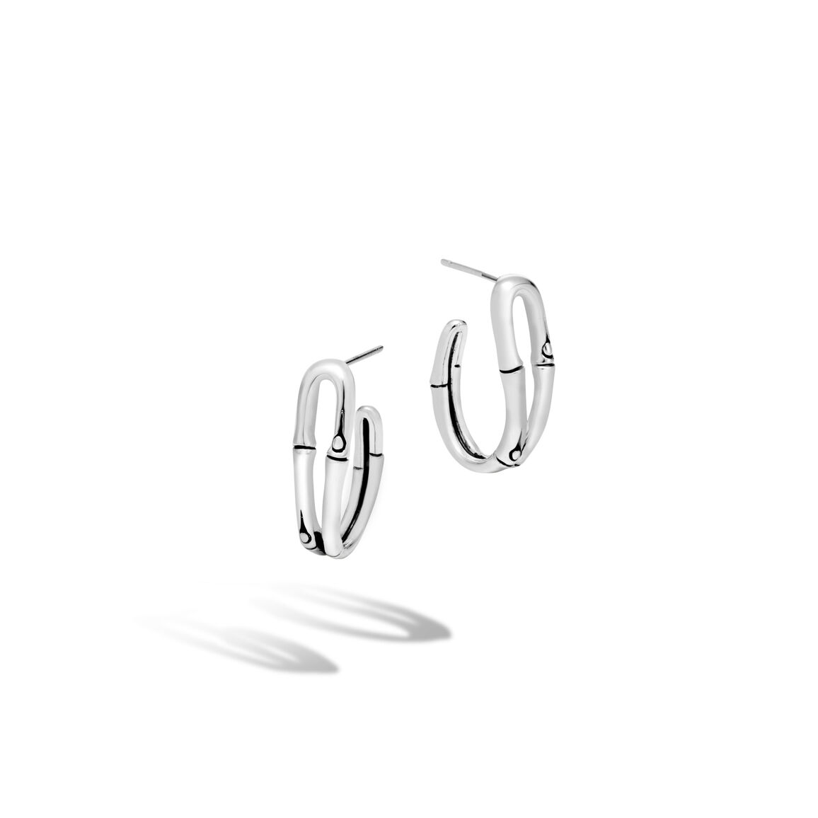 Bamboo Hoop Earring in Silver