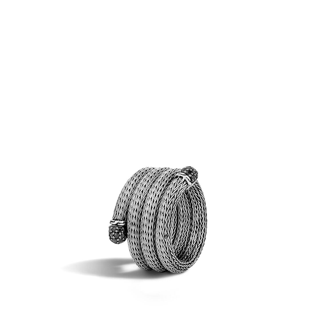Classic Chain Coil Ring in Silver with Gemstone