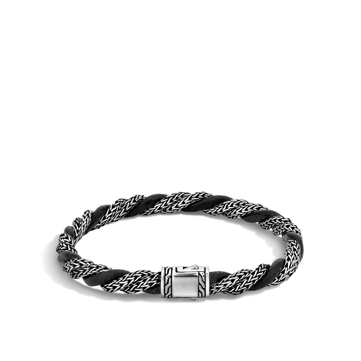 Classic Chain 6MM Bracelet in Silver with Leather