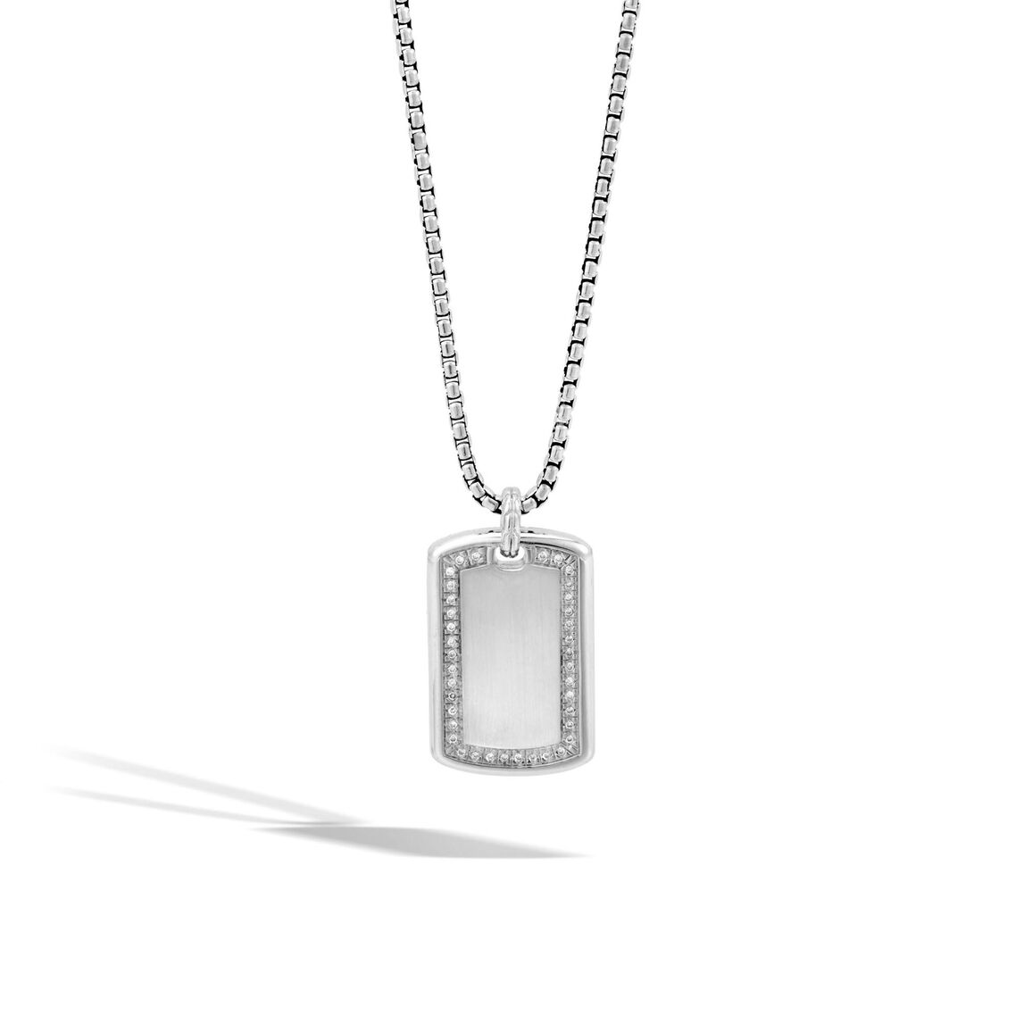 Classic Chain Dog Tag Necklace in Silver with Diamonds
