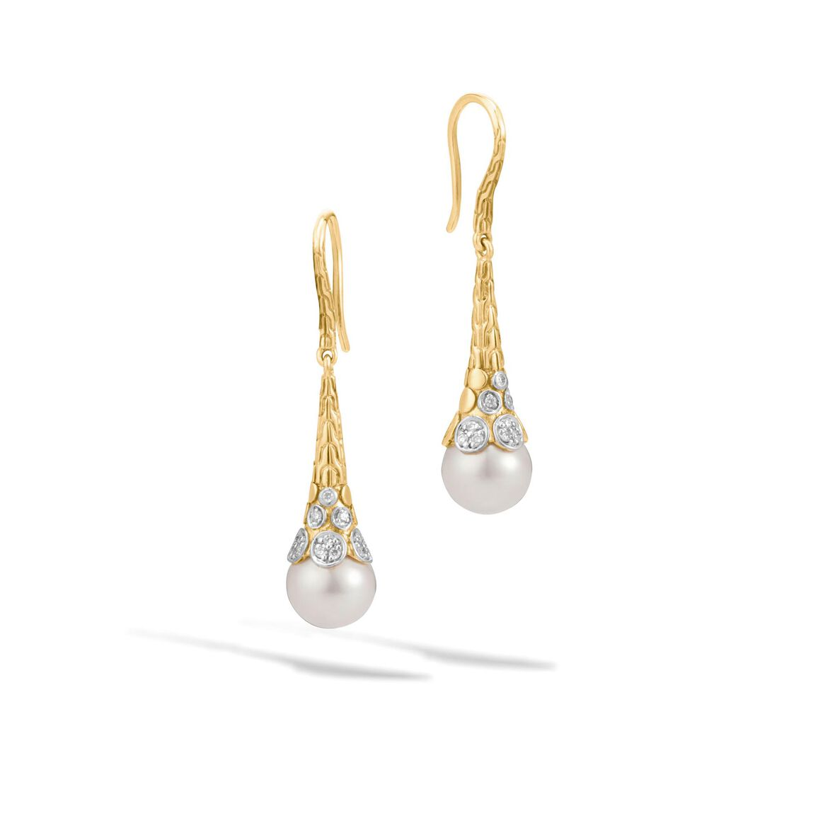 Dot Drop Earring in 18K Gold with 9MM Pearl and Diamonds