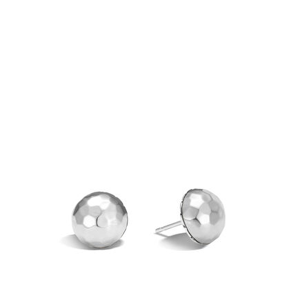 Classic Chain Stud Earring in Hammered Silver
