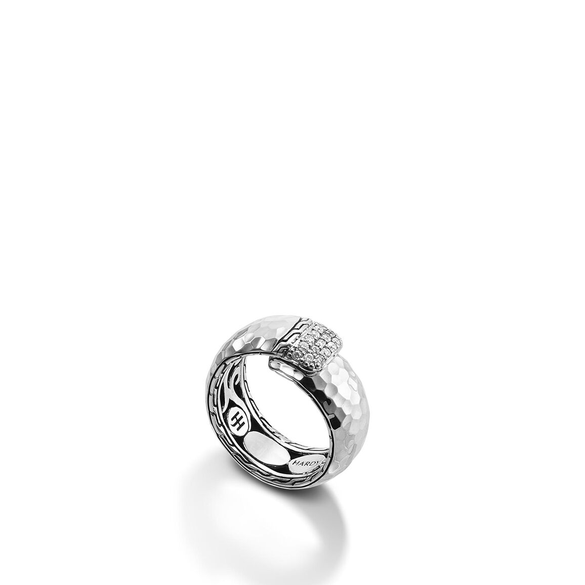 Overlap Band Ring with Diamonds