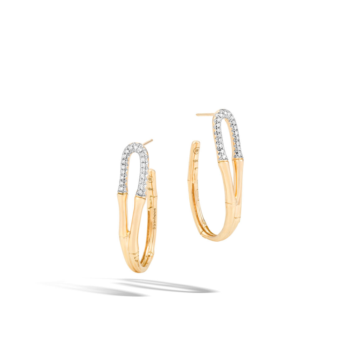 Bamboo Medium Hoop Earring in 18K Goldwith Diamonds