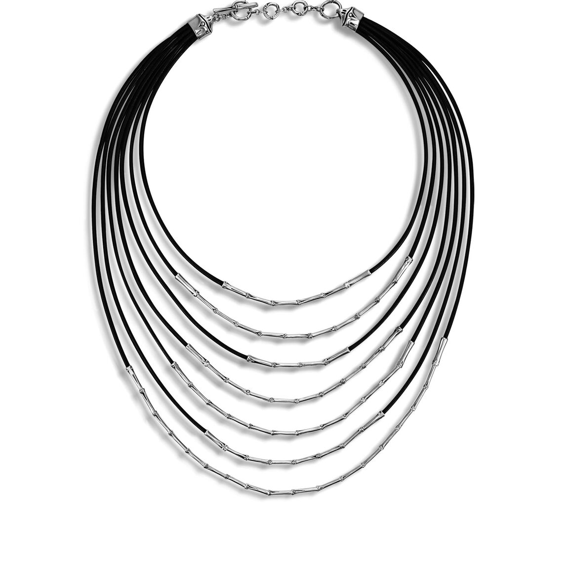 Bamboo Bib Necklace in Silver and Leather