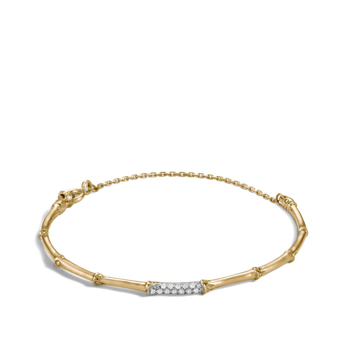 Bamboo 2MM Station Bracelet in 18K Gold with Diamonds