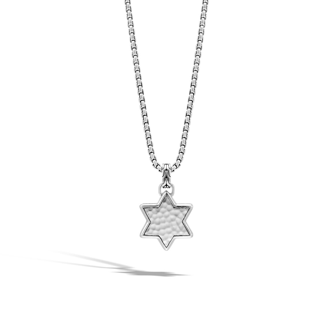 Classic Chain Star of David Pendant in Hammered Silver