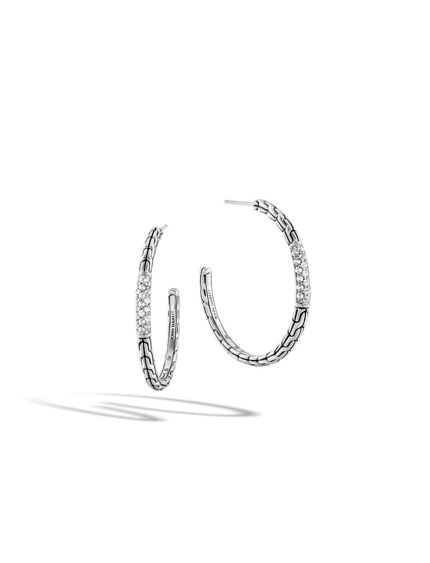 Classic Chain Medium Hoop Earring in Silver with Gemstone