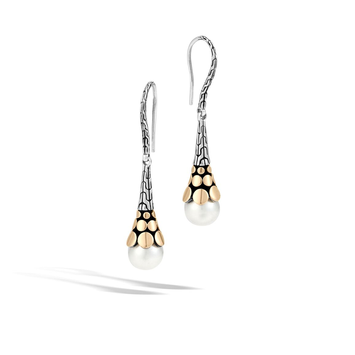 Dot Drop Earring in Silver and 18K Gold with 8MM Pearl