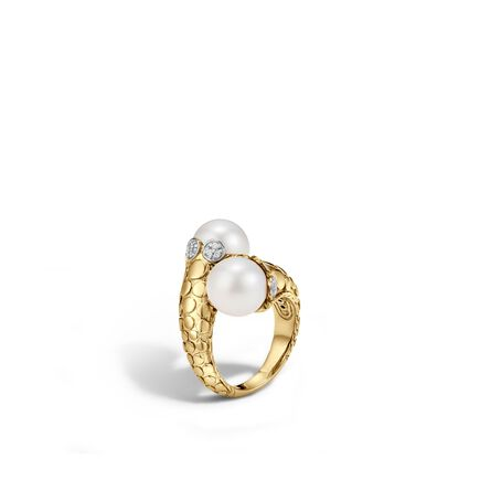 Dot Bypass Ring in 18K Gold with 11MM Pearl and Diamonds