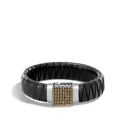 Chain Jawan 17MM Station Bracelet, Silver, 18KG, Leather