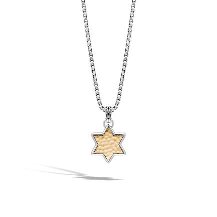 Classic Chain Star of David Pendant, Silver, Hammered Gold