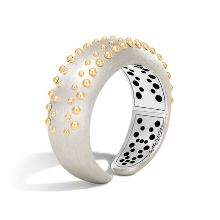 Dot 20MM Kick Cuff in Brushed Silver and 18K Gold