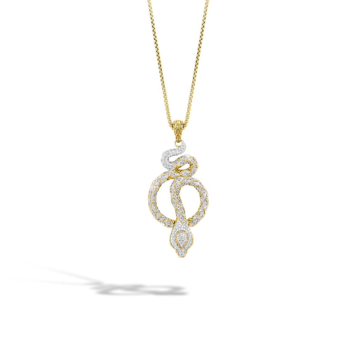 Legends Cobra Pendant Necklace in 18K Gold with Diamonds
