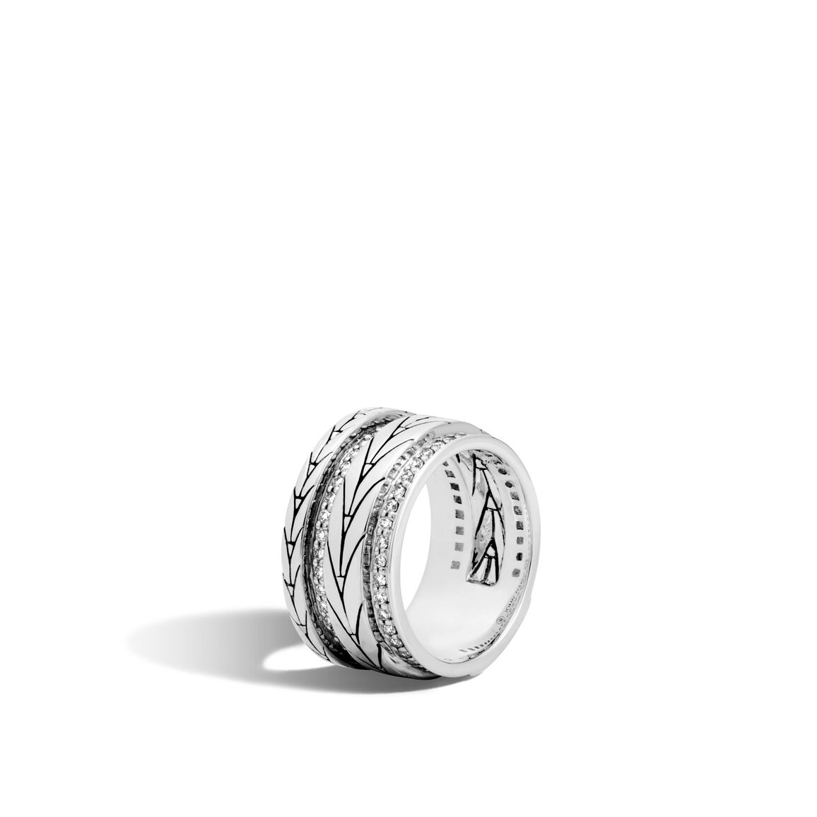 modern chain 11mm band ring in silver with diamonds