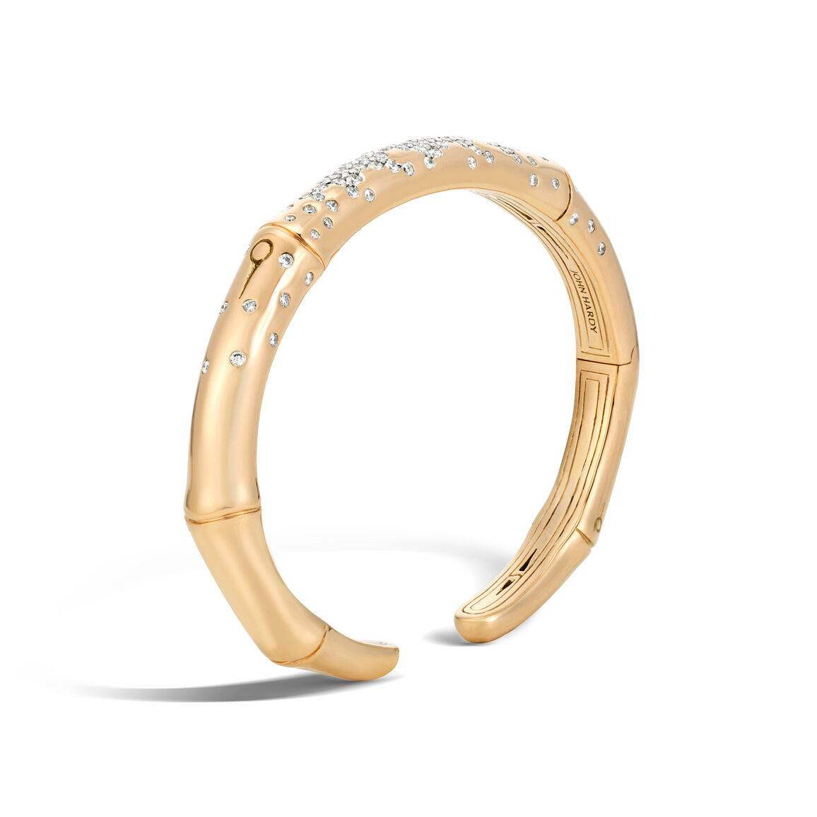Bamboo 7MM Kick Cuff in 18K Gold with Diamonds