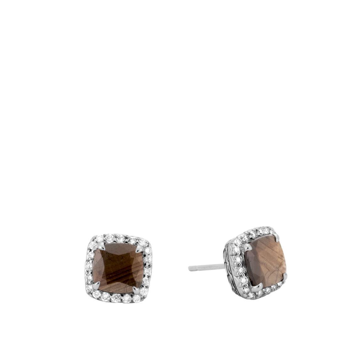 Classic Chain Magic Cut Stud Earring, Silver, Gems, Diamonds