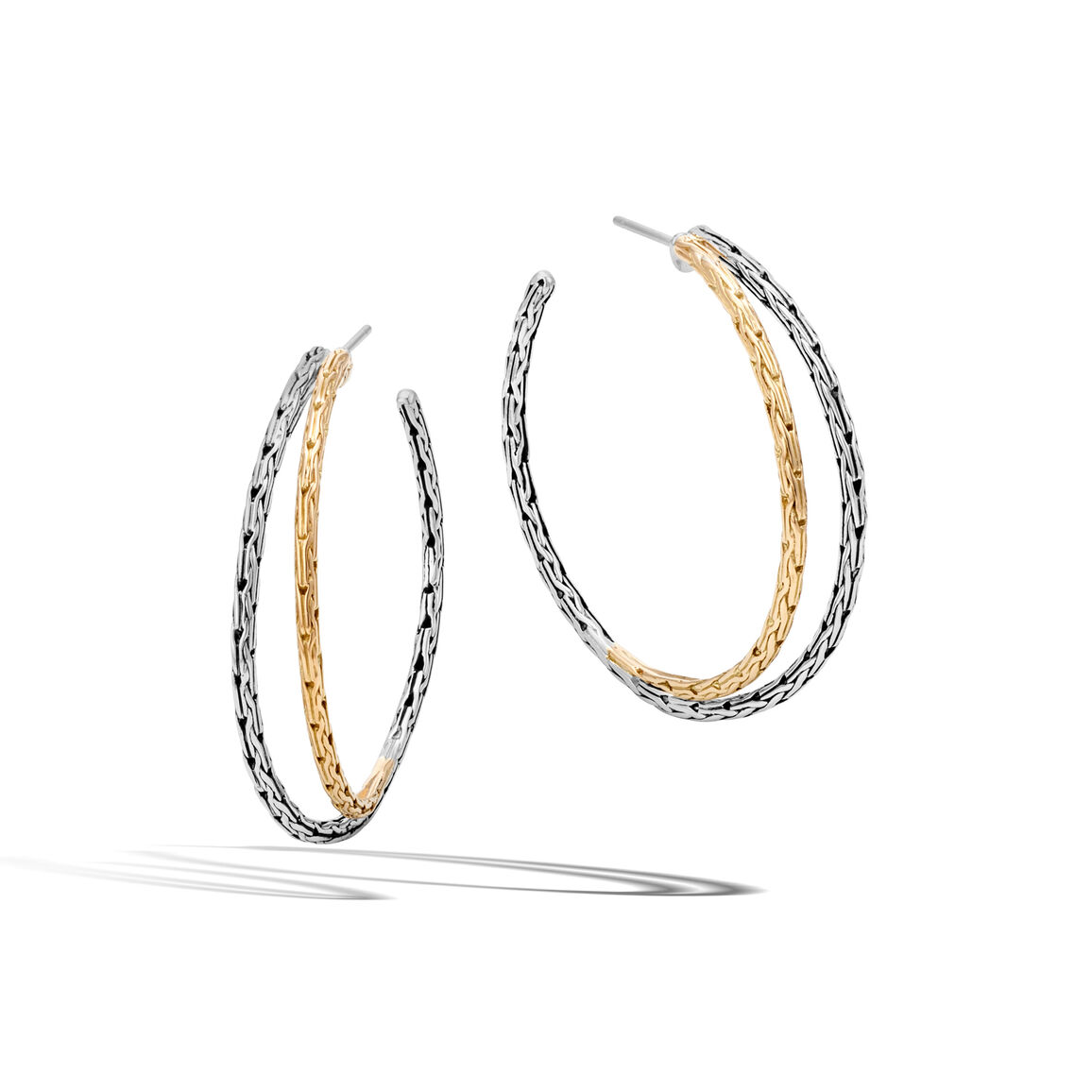 Classic Chain Small Hoop Earring in Silver and 18K Gold